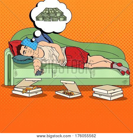 Pop Art Lazy Man Lying on Sofa, Watching TV and Dreaming about Big Money. Vector illustration