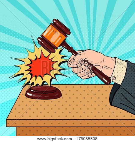 Pop Art Judge Hitting Wooden Gavel in a Courtroom. Vector illustration