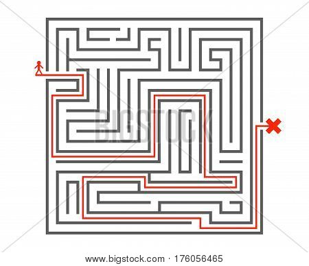 Man pass way intricacy labyrinth maze isometric background design template vector illustration