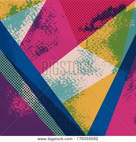 Abstract vector background in trendy retro 80s 90s memphis style. Universal card pastel colors. Retro design fashion art. Modern geometric background in retro 80s-90s style. Memphis hipster fashion
