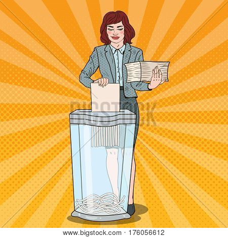 Pop Art Business Woman Utilises Paper Documents in Shredder. Vector illustration