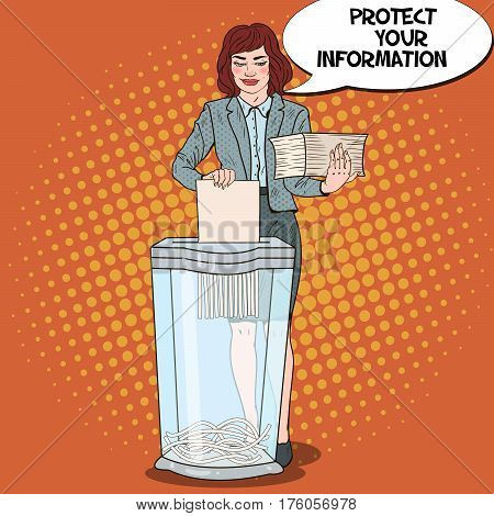 Pop Art Business Woman Shredding Paper Documents. Vector illustration