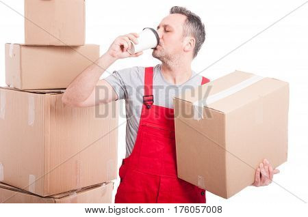 Mover Man Holding Box And Drinking Coffee
