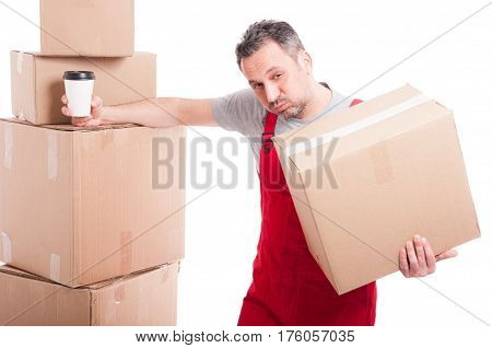 Mover Guy Holding Box And Coffee Cup Taking A Break