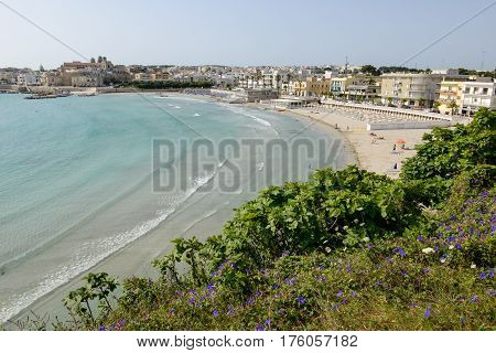 Beautiful Town Of Otranto And Its Beach On Salento Peninsula