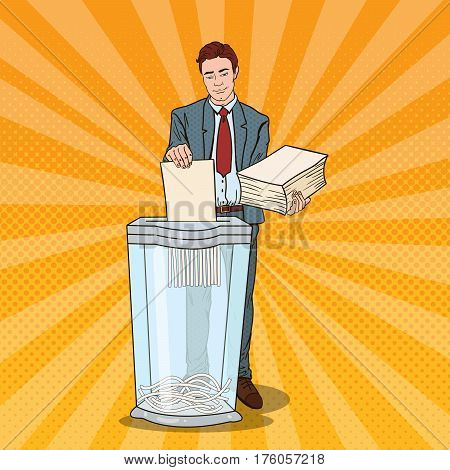 Pop Art Businessman Utilises Paper Documents in Shredder. Vector illustration