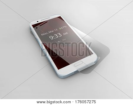 Screen protector film or glass cover isolated on grey background. Mobile accessory. 3d illustration