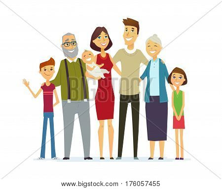 Familly - colored vector modern flat design composition. Father, mother, grandmother, grandfather, son, daugther, baby.