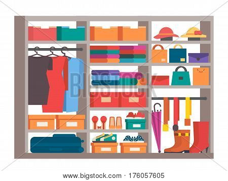 Wardrobe, clothes, bag and shoes storage. Closet with shelves and boxes. Flat style vector illustration