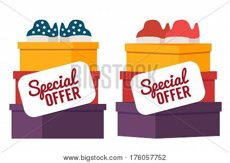 Shoes sale in store. Shoe boxes with footwear. Vector shopping illustration.