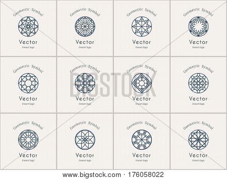 Circular ornamental logo templates set. Vector arabic geometric symbols