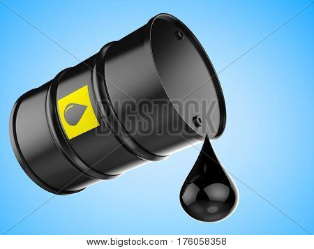 Droplet Of Crude Oil With Black Barrel