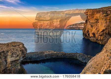 Gozo Malta - The beautiful Azure Window a natural arch and famous landmark on the island of Gozo has been collapsed in 9. March. 2017. On this image you can see the before-after site as the Window is at 50% opacity
