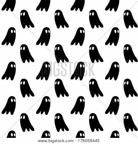 Vector hand drawn cartoon seamless ghost pattern. Horror theme. Black and white ghost pattern for paper textile polygraphy game web design