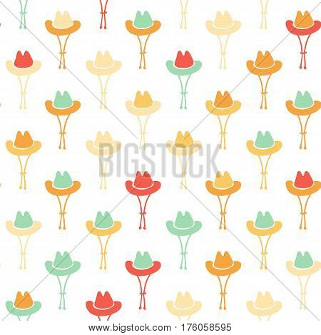 Vector hand drawn cartoon seamless pattern with cowboy hat. Western theme. Colored cowboy pattern for paper textile polygraphy game web design