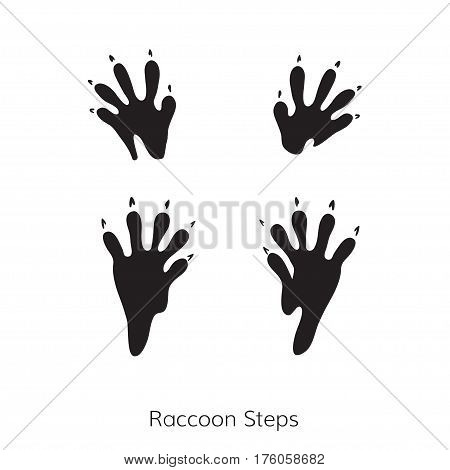 Vector cartoon raccoon footprint. Raccoon steps. Isolated black icon for logo web site design app UI. Animal steps for posters greeting cards book cover flyers banner web game designs.