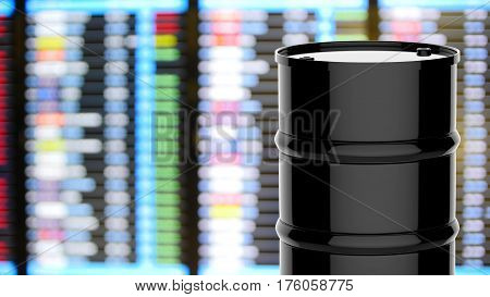 3d rendering black barrel with business graph