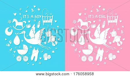 Set of hand drawn elements. Baby stuff. Collection of vector cute icons. It's a boy and girl
