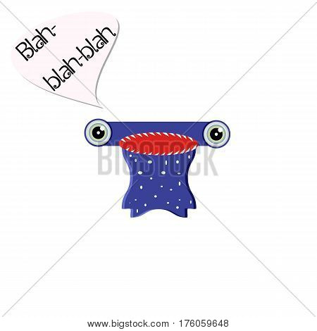 Blue monster with a big toothy mouth. Chatty character concept. Emoji isolated for your design needs. Vector illustration on a white background