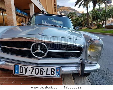 Monte-Carlo Monaco - March 4 2017: Luxury Old Mercedes-Benz Roadster Badly Parked on the Sidewalk in Monaco