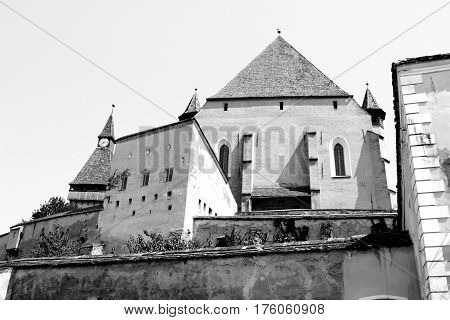 Black and White. Fortified medieval church Biertan, Transylvania. Biertan is one of the most important Saxon villages with fortified churches in Transylvania, having been on the list of UNESCO World Heritage Sites since 1993
