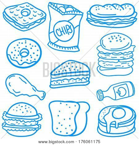 Collection stock of food various doodles vector illustration