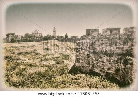 Dormition Abbey on Mount Zion in Jerusalem. Old City of Jerusalem Israel. The green hill surrounded by the ramparts with the Dormition Abbey. Vintage Style Toned Picture