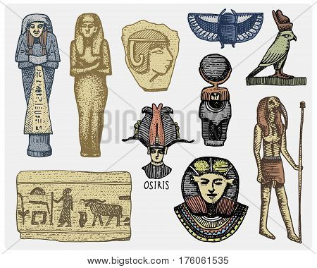 egyptian symbols, pharaon, scorob, hieroglyphics and osiris head, god vintage, engraved hand drawn in sketch or wood cut style, old looking retro, isolated vector realistic illustration