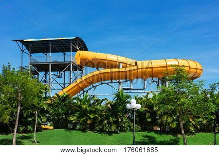 attraction with a water pipe in aqua park