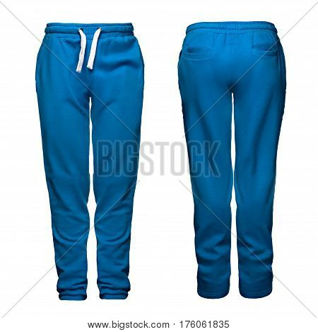 Sport pants, blue, isolated on white background