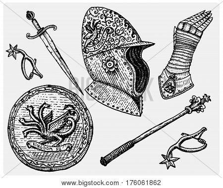 medieval symbols, Helmet and gloves, shield with dragon and sword, knife and mace, spur vintage, engraved hand drawn in sketch or wood cut style, old looking retro,