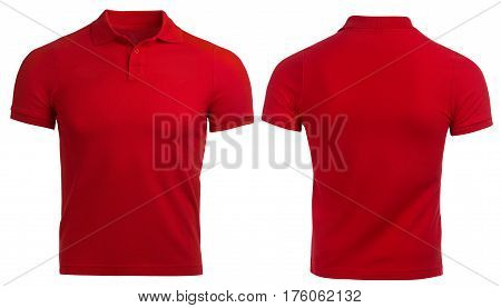 Red Polo shirt, clothes on isolated white background