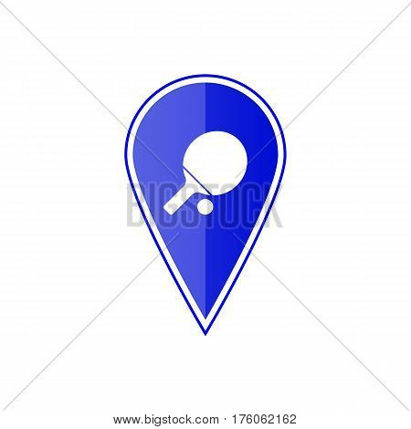 Blue map pointer with table tennis on the white background. Vector design