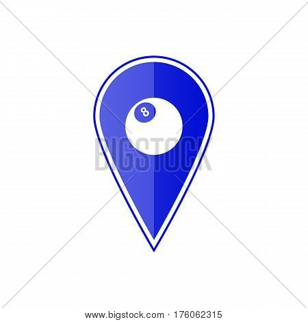 Blue map pointer with billiards ball on the white background. Vector design