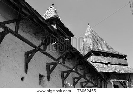 Fortified saxon medieval church Homorod, Transylvania. The villagers started building a single-nave Romanesque church, which is uncommon for a Saxon church, in the 13th century.