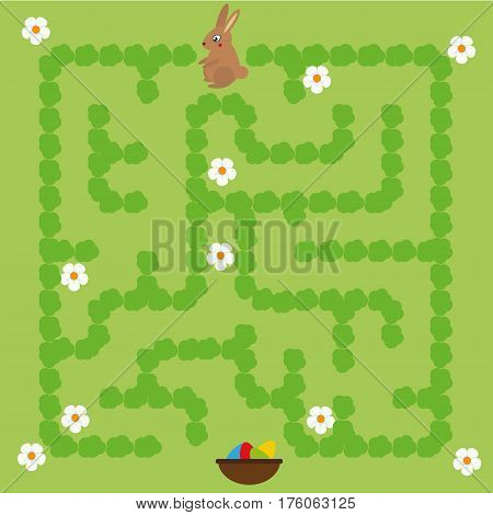 Maze children game. help the bunny go through labyrinth and find way to the Easter eggs