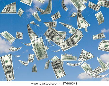 denaro che cade sullo sfondo del cielo