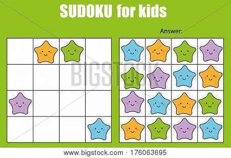 Sudoku game for children with pictures. Kids activity sheet with cute stars characters. Training logic, educational game