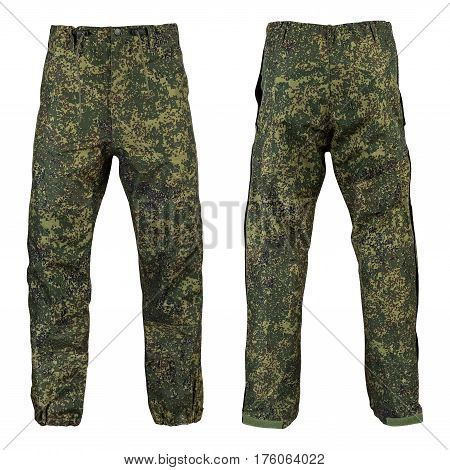 Military trousers, camouflage, on isolated white background