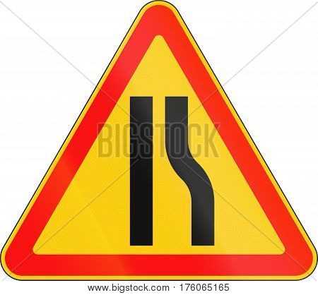 Warning Road Sign Used In Belarus - Road Narrows On Right