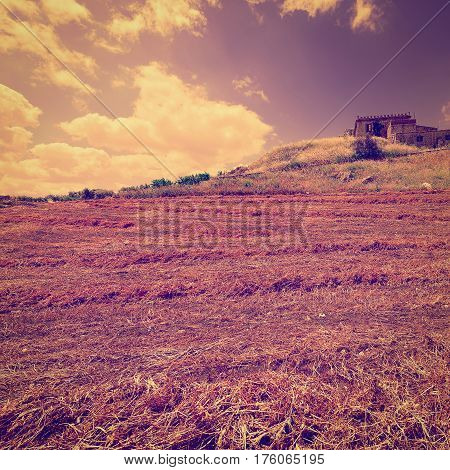 Mown Field on the Hill in Sicily at Sunset Instagram Effect