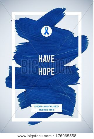 CLORECTAL Cancer Awareness Creative Grey and Blue Poster. Brush Stroke and Silk Ribbon Symbol. National Colon Cancer Awareness Month Banner. Brush Stroke and Text. Medical Vertical Design.