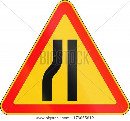 Warning Road Sign Used In Belarus - Road Narrows On Left