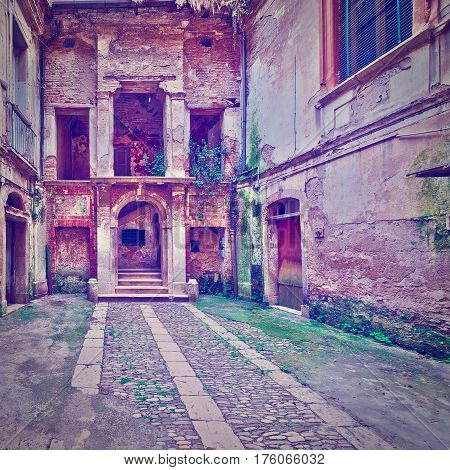 Dilapidated Courtyard of the Old Italian Home in the City of Minori Instagram Effect