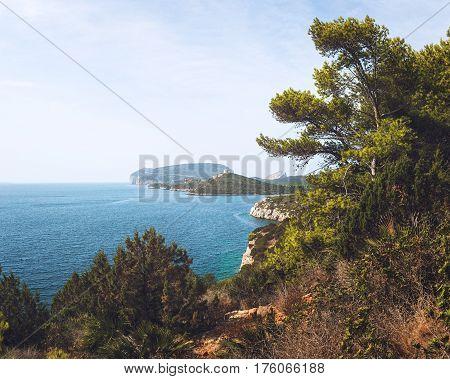 Cliffs of Capo Caccia Peninsula near Alghero City, Province of Sassari, Sardina, Italy