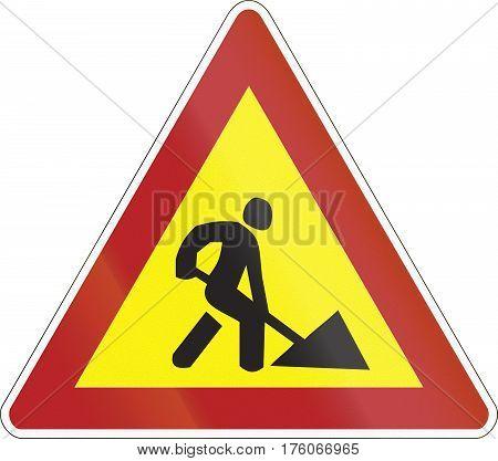 Warning Road Sign Used In Belarus - Road Works