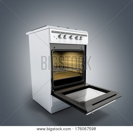 Open Gas Stove 3D Render On Grey Background