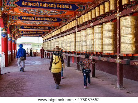 Prayer Wheels At Yarchen Gar In Sichuan, China