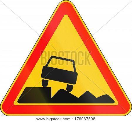 Warning Road Sign Used In Belarus - Soft Shoulder