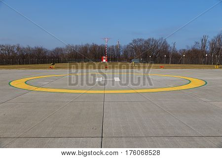 Technically equipped place in the field for helicopter landing horizontal photo